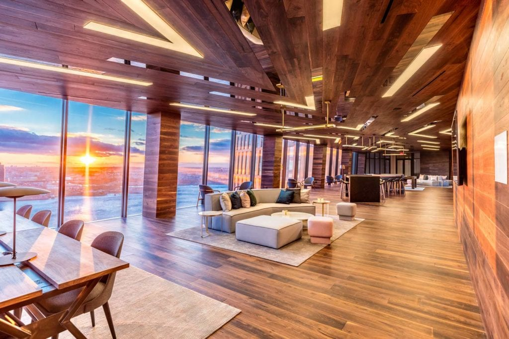 Interior of American Copper Buildings with sunset coming in through windows