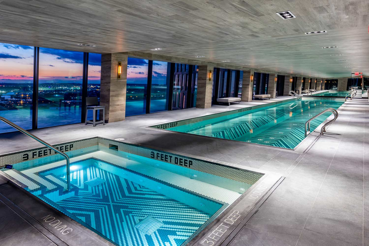 Indoor swimming pool facilities at American Copper Buildings