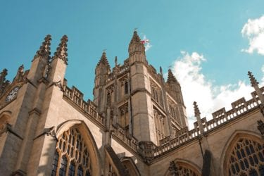 Perspective shot from ground level of Bath Abbey