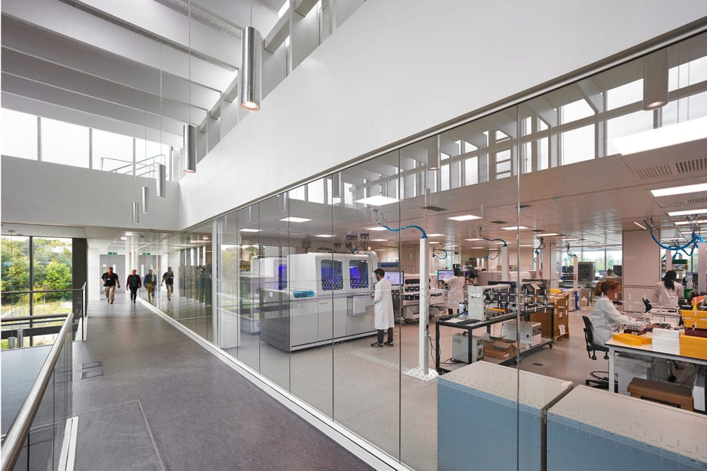 Interior view of the Jack Copland Centre looking into the busy labs