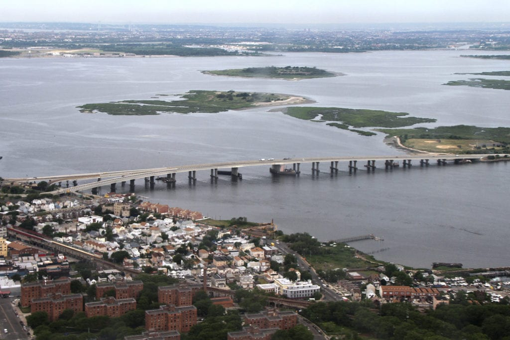 Aerial shot of the Jamaica Bay estuary