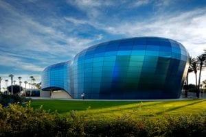 Complex glass facade of the Long Beach Aquarium, CA, USA