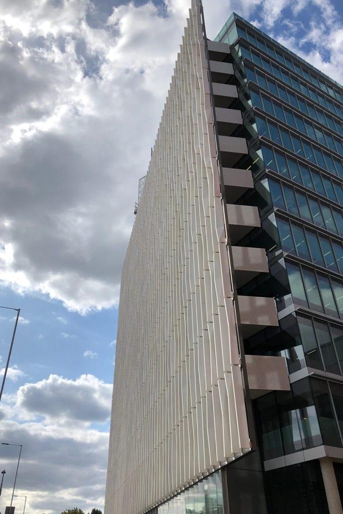 Exterior shot of the Michael Uren Building's facades