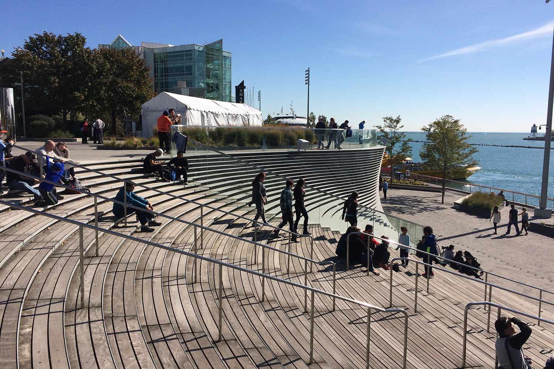 People enjoying the Navy Pier