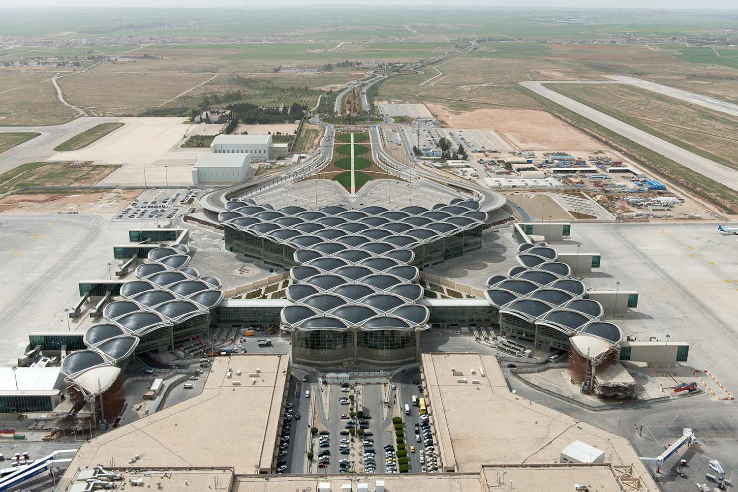 Aerial shot of Queen Alia Airport