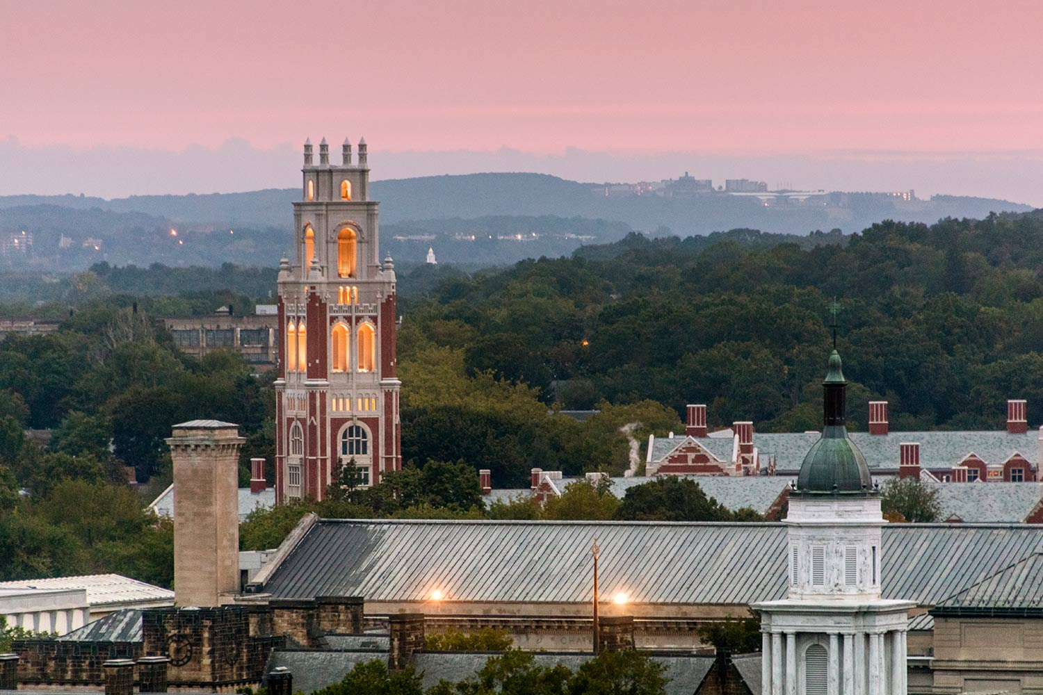 Sunset over Yale University Residential Colleges