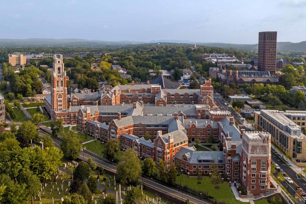 Aerial shot of Yale University, Residential Colleges
