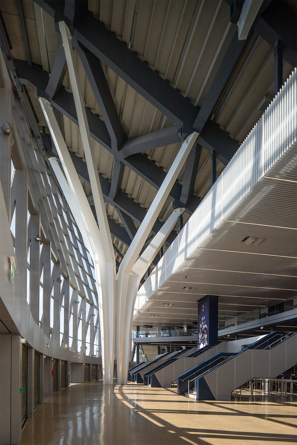 Interior shot of structural elements of Tottenham Hotspur Football Club's new stadium