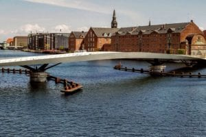 Lille Langebro bridge on a clear day against adjacent waterfront of Copenhagen