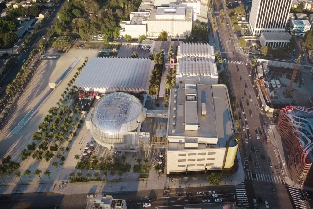 Academy Museum of Motion Pictures exterior aerial image