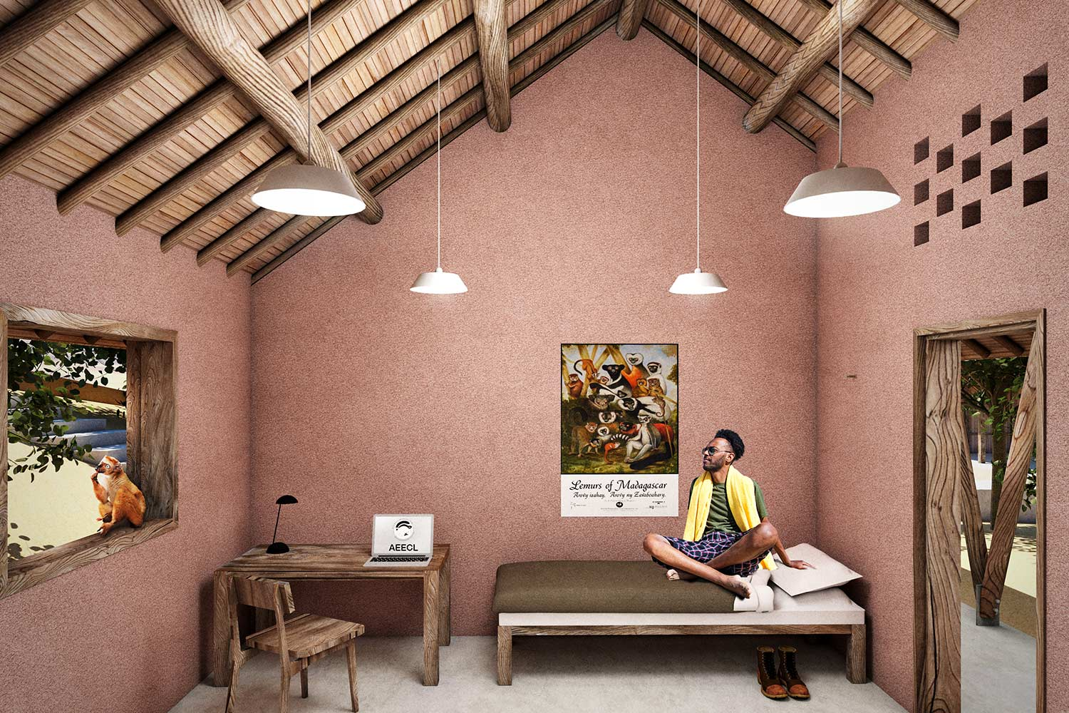 Bedroom in Ankarafa Research Station render