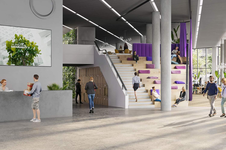 Spacious atrium of EDGE Grand Central
