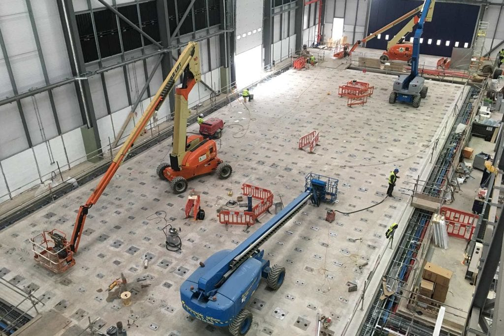 A view of the finished floor prior to installing the wall.