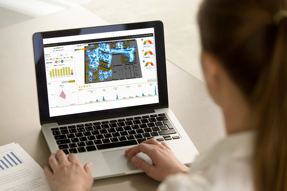 Woman using smart software on a laptop