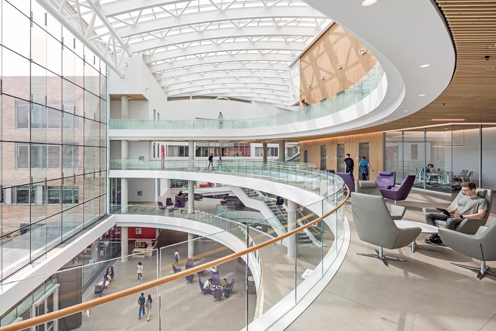 People using spacious atrium of Tepper School of Business