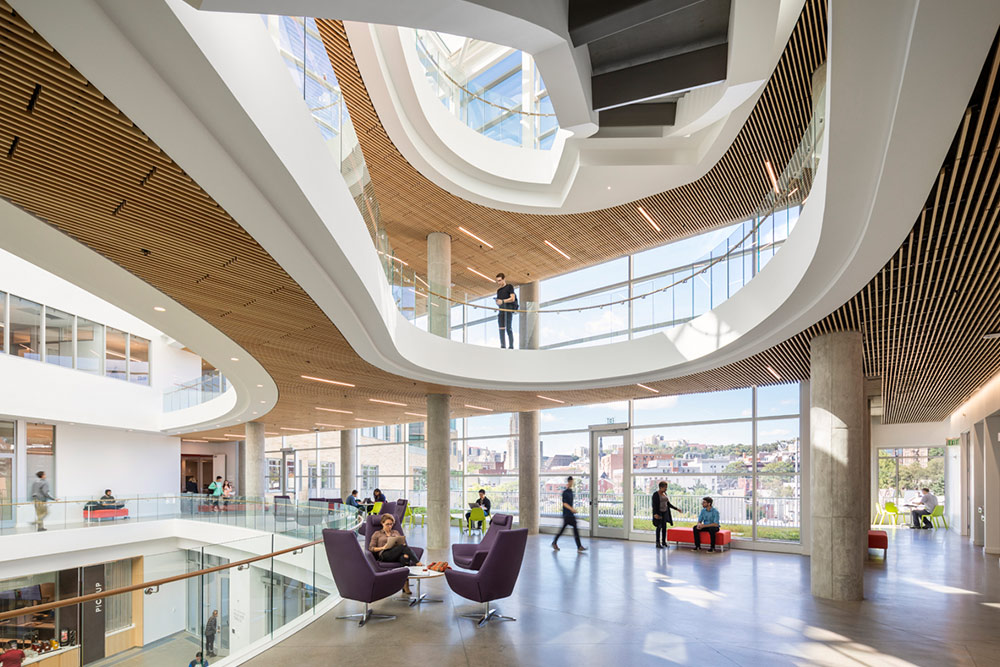 Open space created by bubble deck structure in Tepper School of Business
