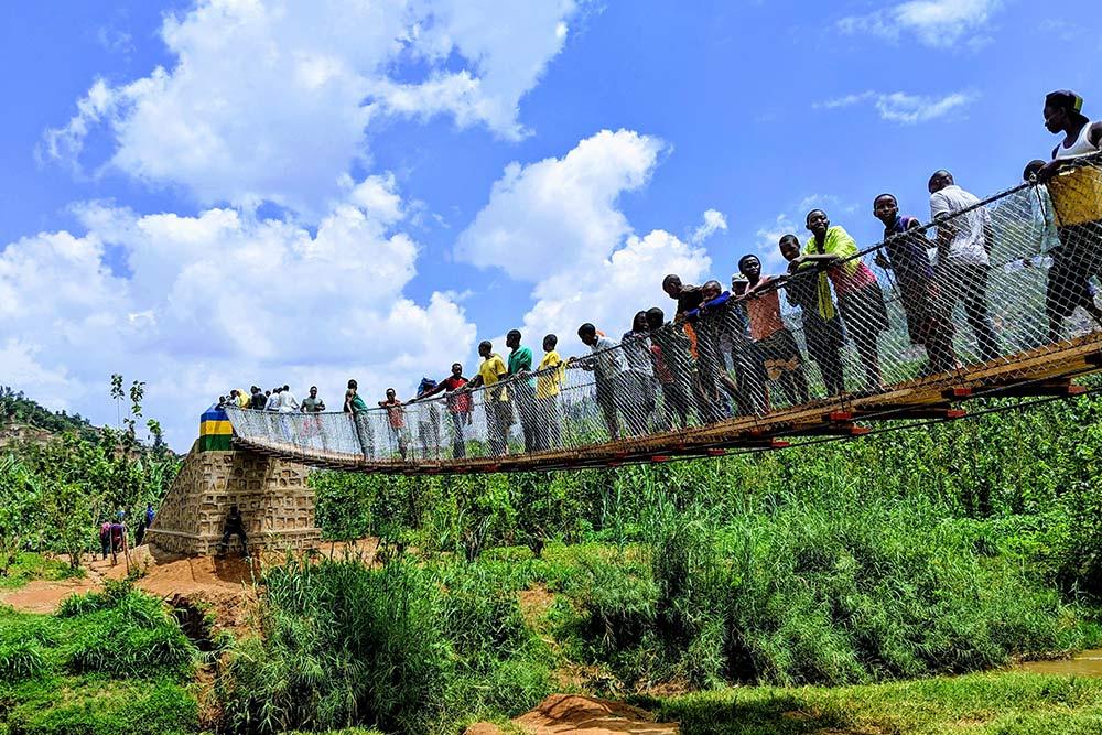 Children gathered on Gatare Bridge