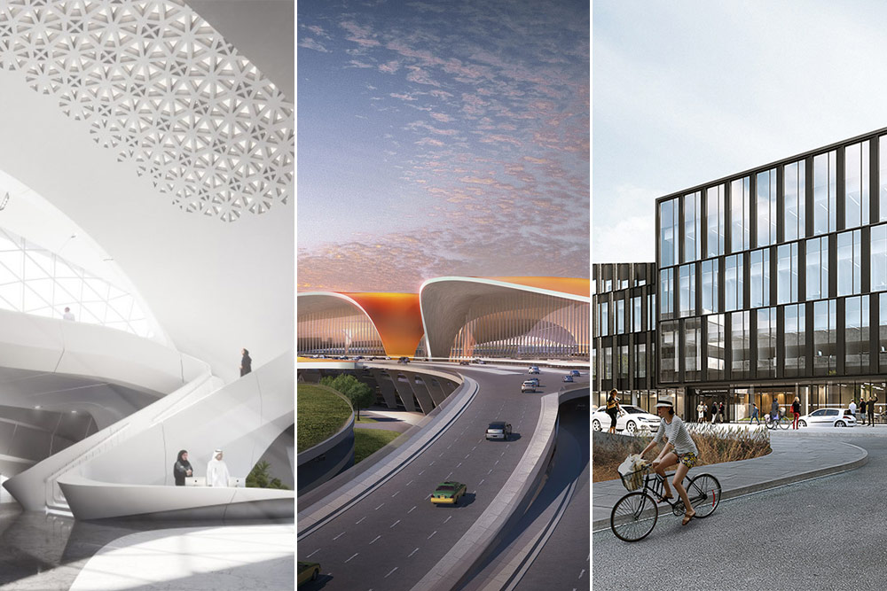 Montage of three Buro Happold projects upcoming in 2019
