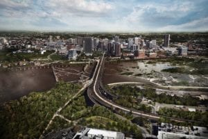 Aerial view of proposed Richmond BridgePark