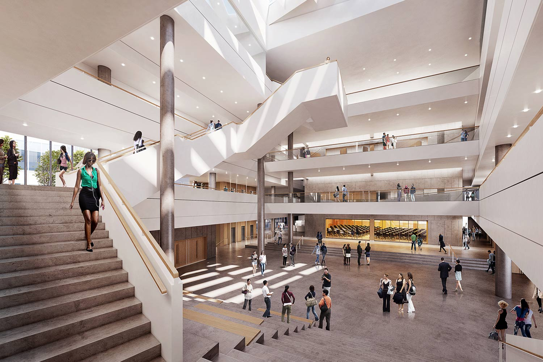 People convening in a spacious atrium