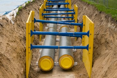 District heating pipes in a trench