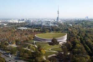 RedBull Stadium in its green environment, OlympiaPark, Munchen