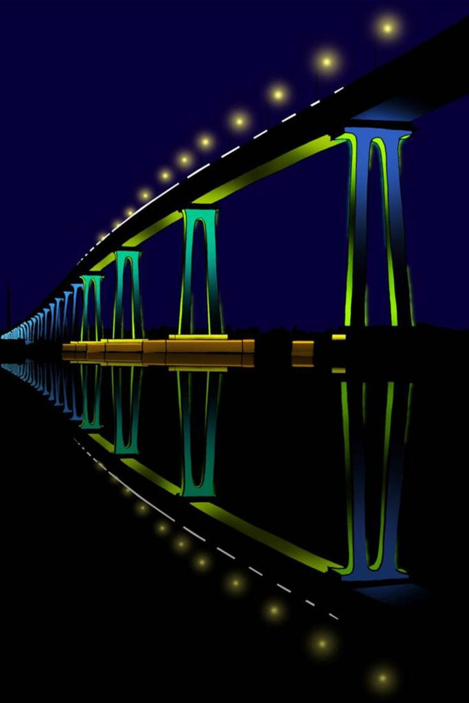 Nightscape of Coronado Bay Bridge, lit up against the dark sky in green and blue