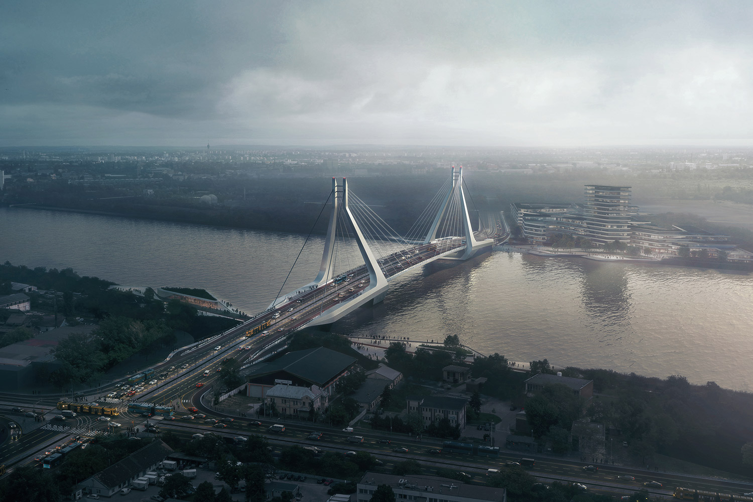 Aerial view of New Danube Bridge from the side, pictured against a moody grey sky