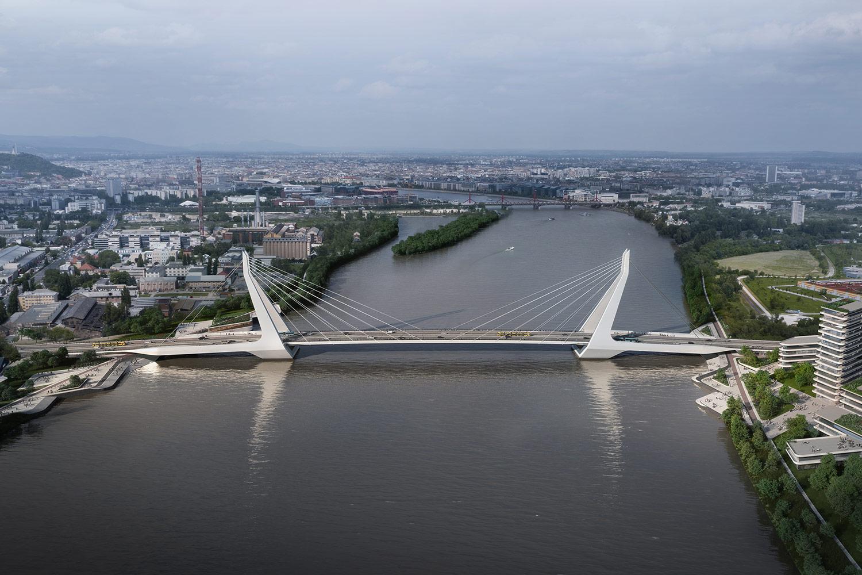 Aerial view of New Danube Bridge