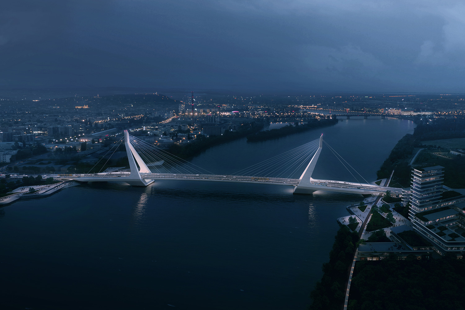 Nightscape of the New Danube Bridge, lit up against the dark water