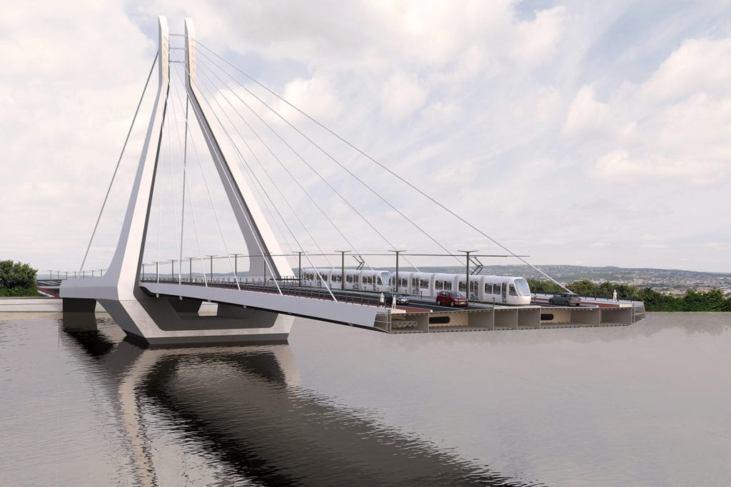 Partially completed cross-section of the New Danube Bridge, with a tram and two cars pictured on it