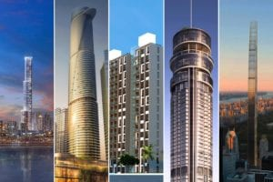 Montage of five tall Buro Happold buildings