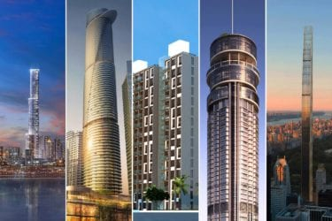 Montage of five tall BuroHappold buildings