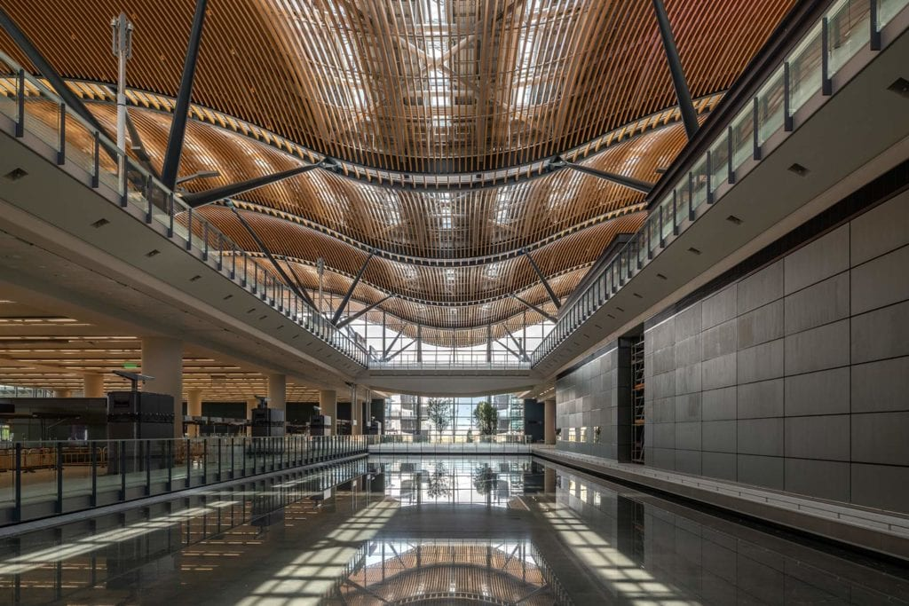 Passenger Building's skylights reflecting on the floor below the curved roof