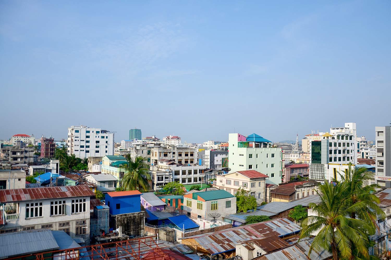 Colourful Mandalay landscape against a blue sky