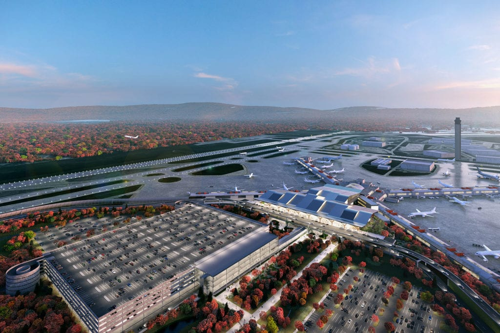Aerial view of the newly modernized Pittsburgh Airport