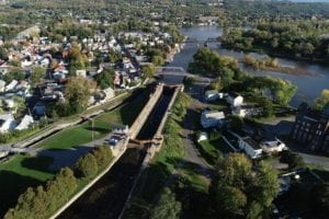 Aerial shot of the Erie canal regeneration project