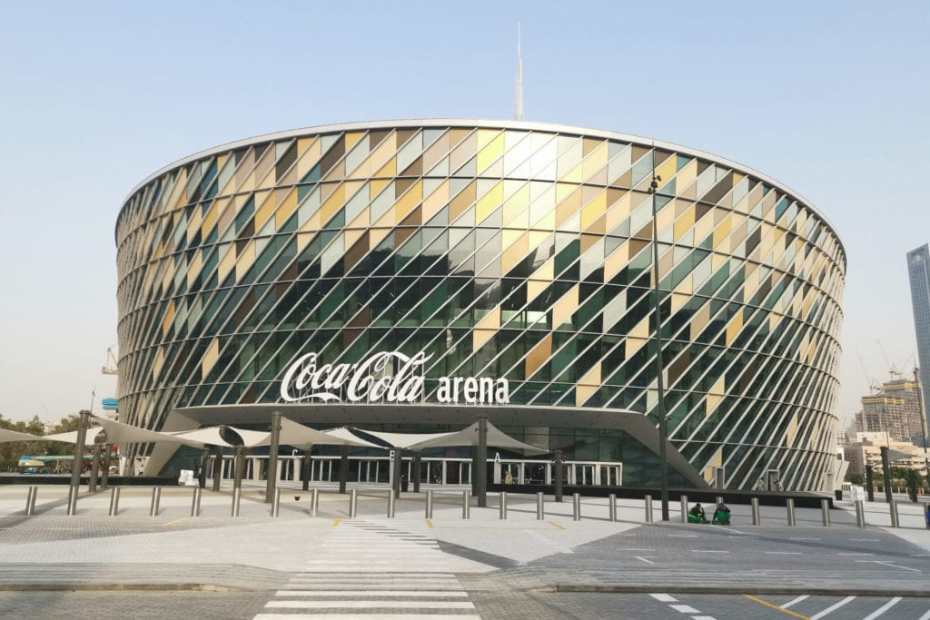 Exterior image of The Coca-Cola arena in Dubai, situated at City Walk.