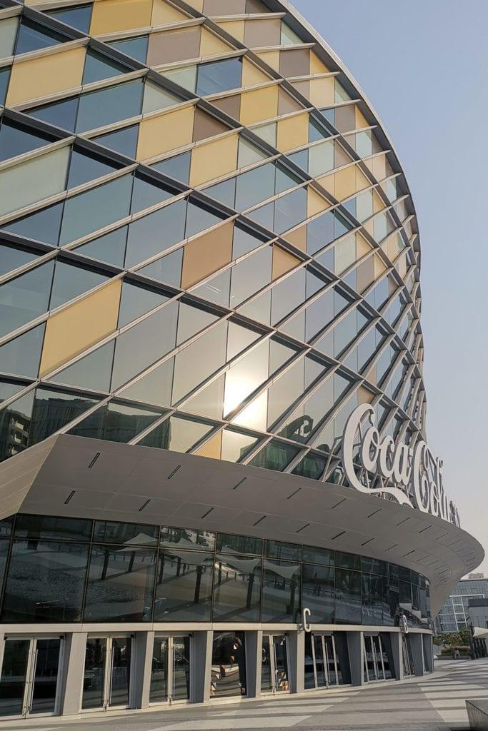 Close-up exterior image of The Coca-Cola arena in Dubai