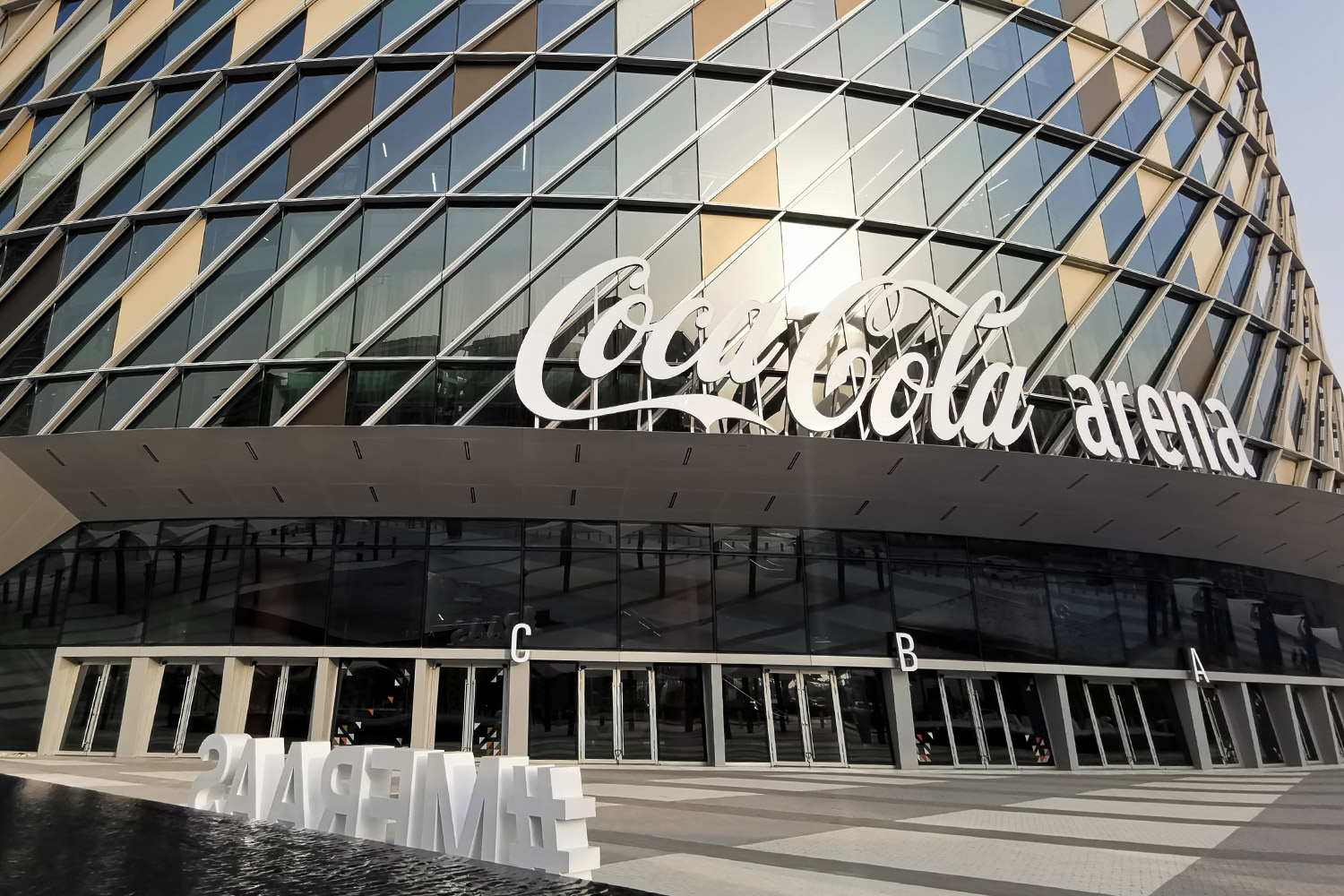 Front view of the Dubai coca cola arena