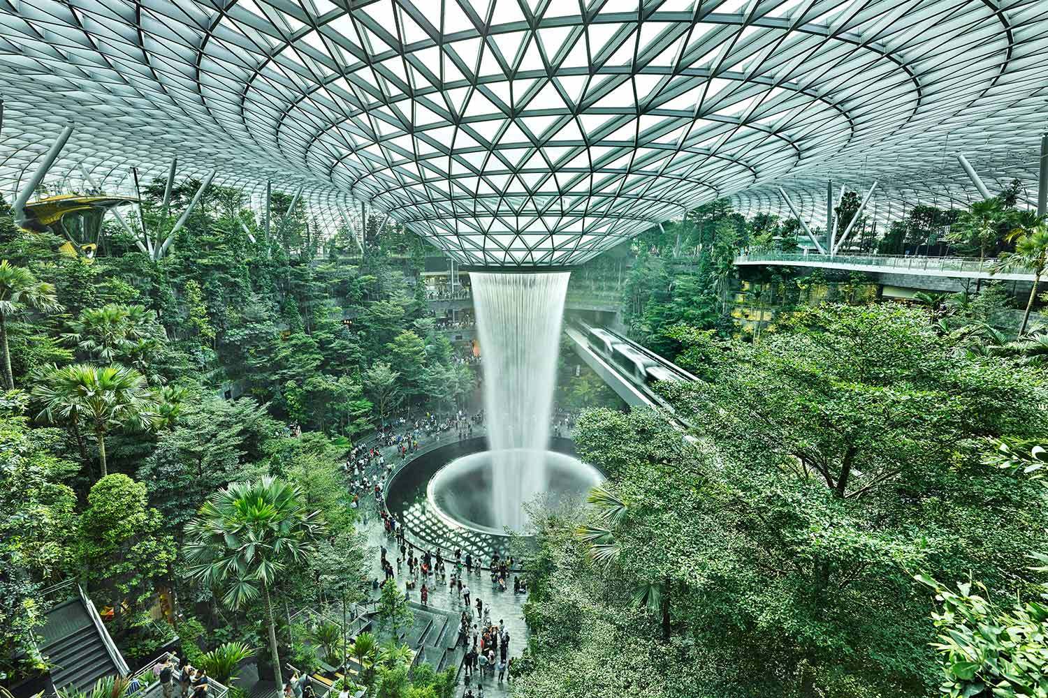 The world's tallest indoor waterfall named the Rain Vortex at Jewel Changi Airport
