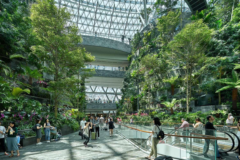Airport travellers walking through Jewel Changi Airport's lush green interior