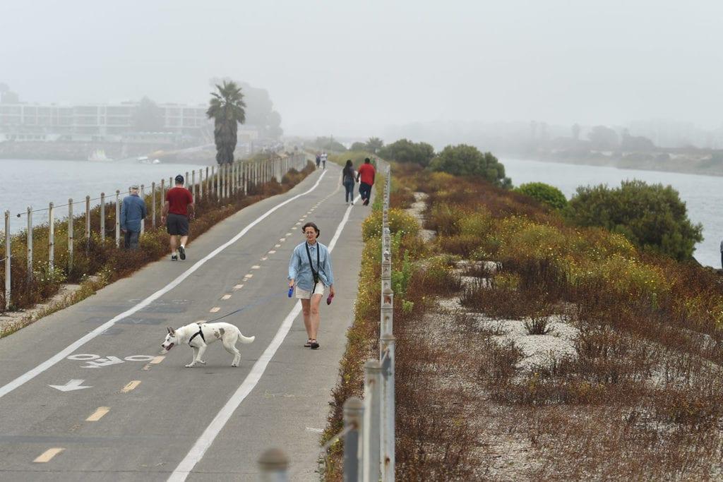 People walking along a coastal road in LA