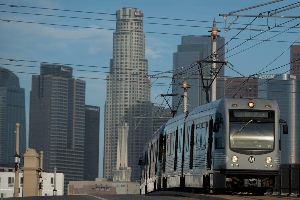 A tram heading towards central LA