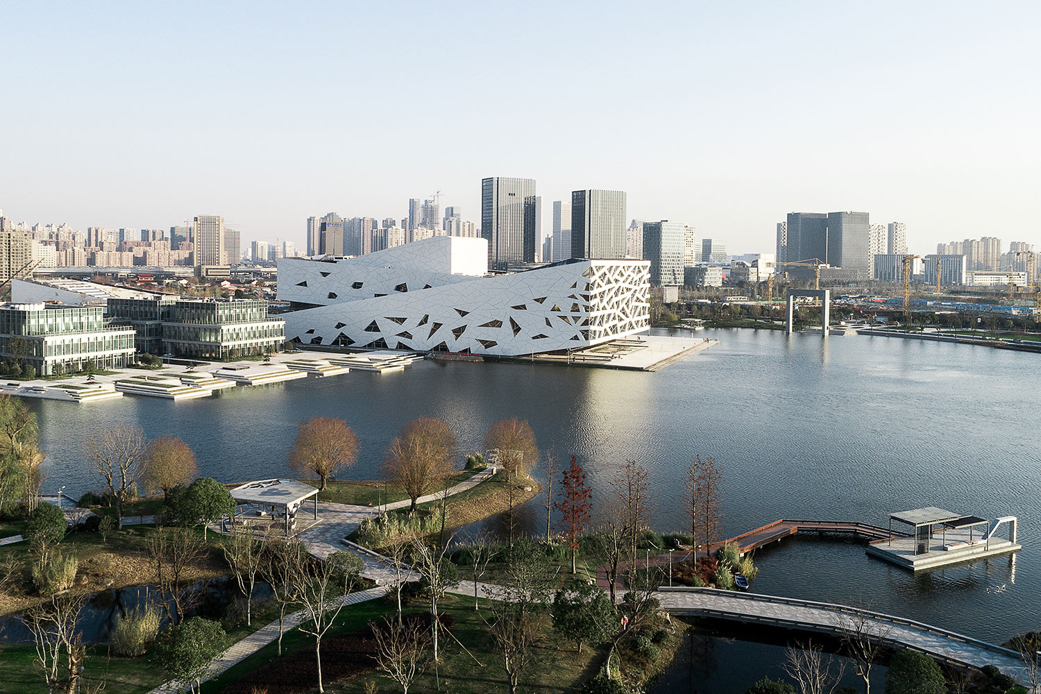 Aerial view of Yuhang Cultural Arts Centre sitting above the lake