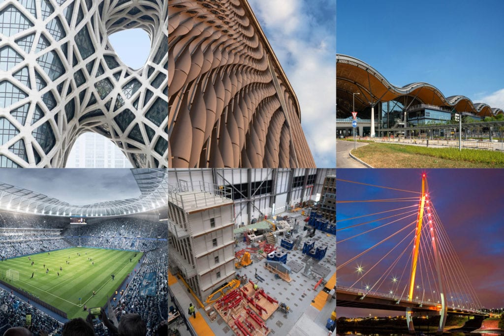Montage of BuroHappold structures shortlisted for IStructE awards 2019