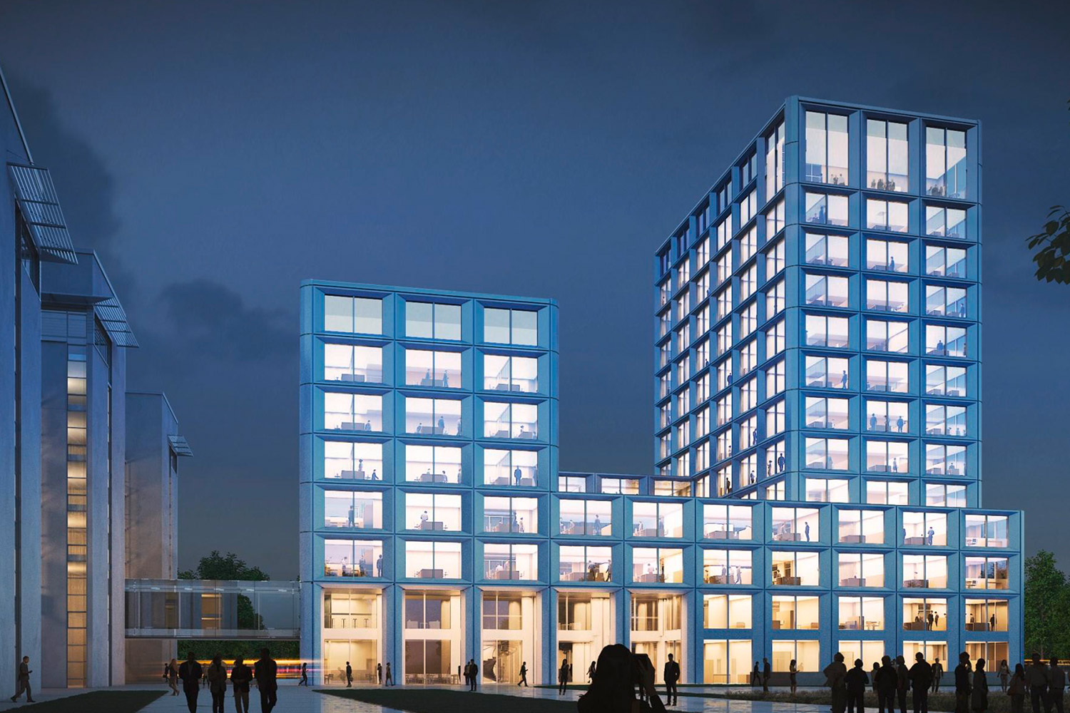Exterior night-time view of the new Enso headquarters