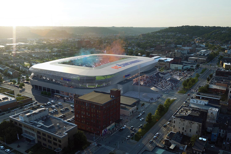 Aerial shot of FC-Cincinnati-Stadium as the sun sets