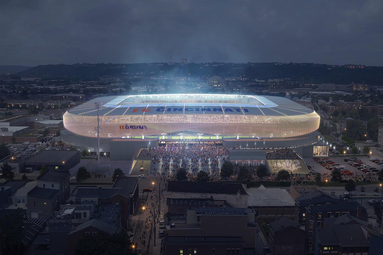 Aerial view of FC Cincinnati-Stadium lit up at night