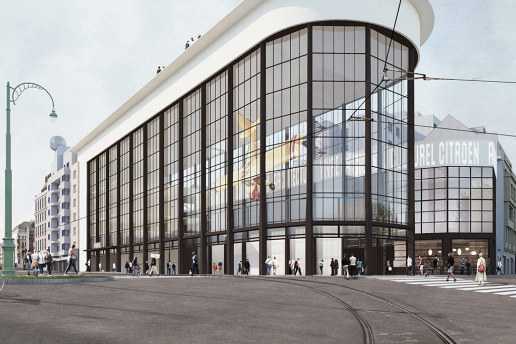 Exterior view of Kanal - Centre Pompidou, with its wrap around glass windows
